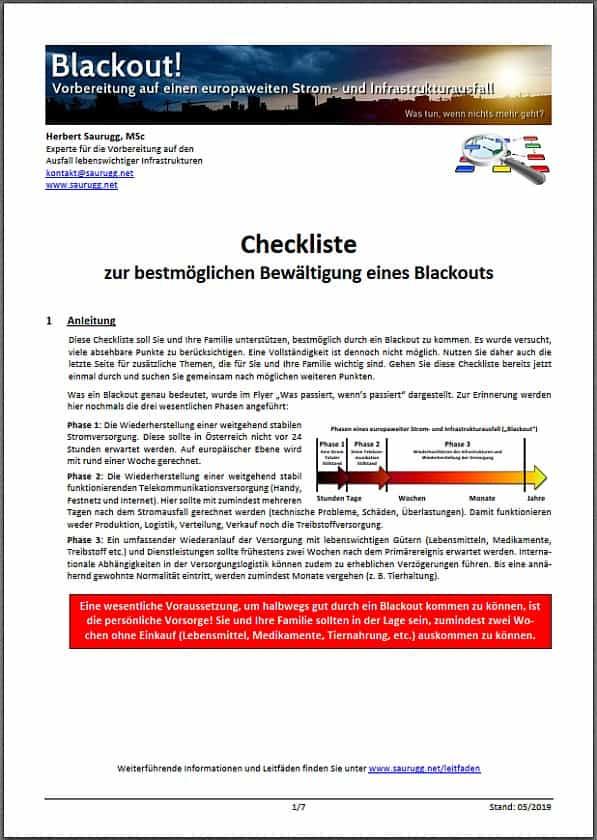 L-Checkliste während eines Blackouts