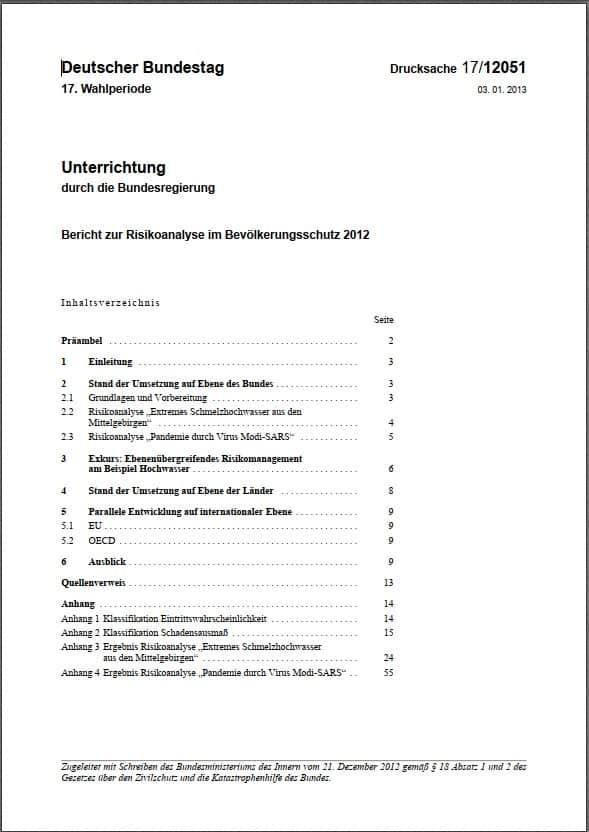 Bericht zur Risikoanalyse im Bevölkerungsschutz 2012