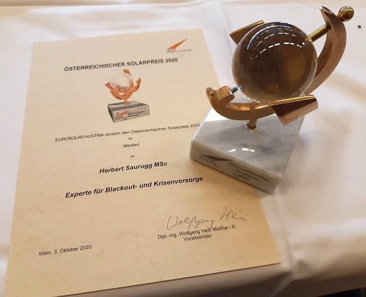 Österreichischer Solarpreis 2020 - Herbert Saurugg
