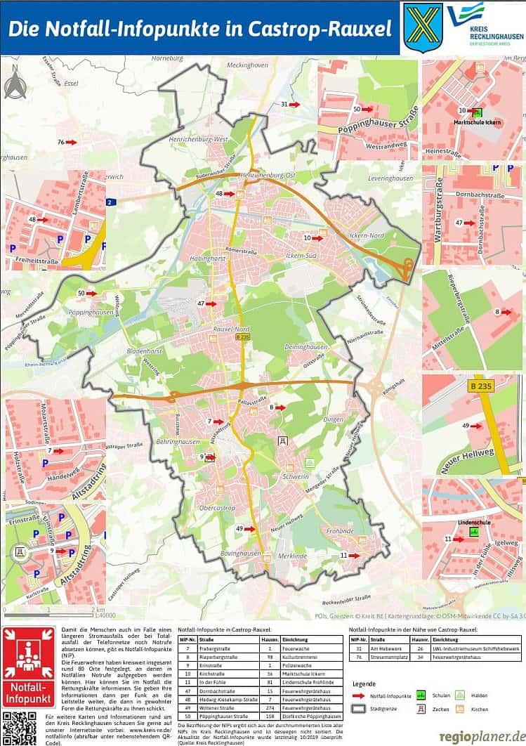 Die Notfall-Infopunkte in Castrop-Rauxel